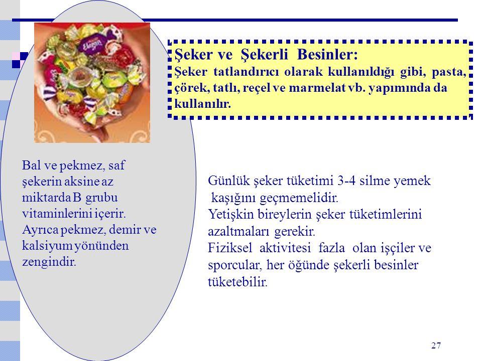 Şeker ve Şekerli Besinler: Şeker tatlandırıcı olarak kullanıldığı gibi, pasta, çörek, tatlı, reçel ve marmelat vb.