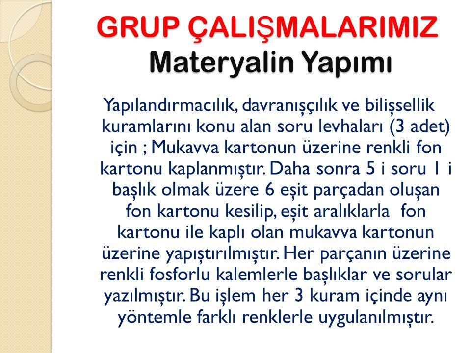 GRUP ÇALI Ş MALARIMIZ Materyalin Yapımı Yapılandırmacılık, davranışçılık ve bilişsellik kuramlarını konu alan soru levhaları (3 adet) için ; Mukavva k