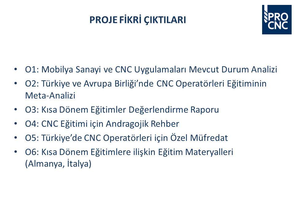 O1: Mobilya Sanayi ve CNC Uygulamaları Mevcut Durum Analizi O2: Türkiye ve Avrupa Birliği'nde CNC Operatörleri Eğitiminin Meta-Analizi O3: Kısa Dönem Eğitimler Değerlendirme Raporu O4: CNC Eğitimi için Andragojik Rehber O5: Türkiye'de CNC Operatörleri için Özel Müfredat O6: Kısa Dönem Eğitimlere ilişkin Eğitim Materyalleri (Almanya, İtalya) PROJE FİKRİ ÇIKTILARI