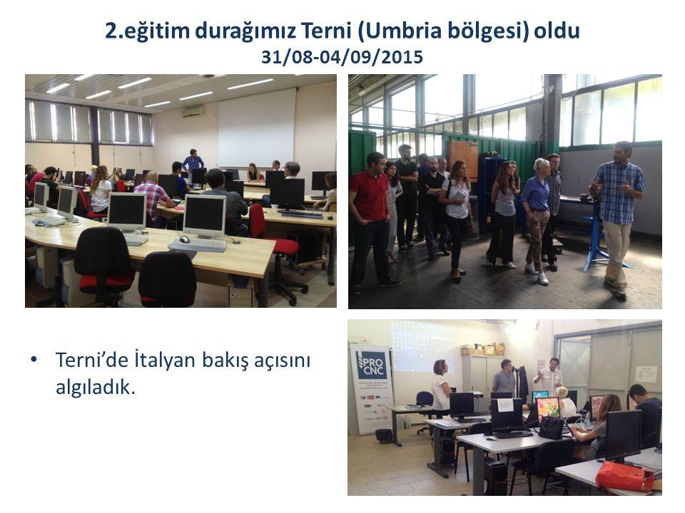 2.eğitim durağımız Terni (Umbria bölgesi) oldu 31/08-04/09/2015 Terni'de İtalyan bakış açısını algıladık.