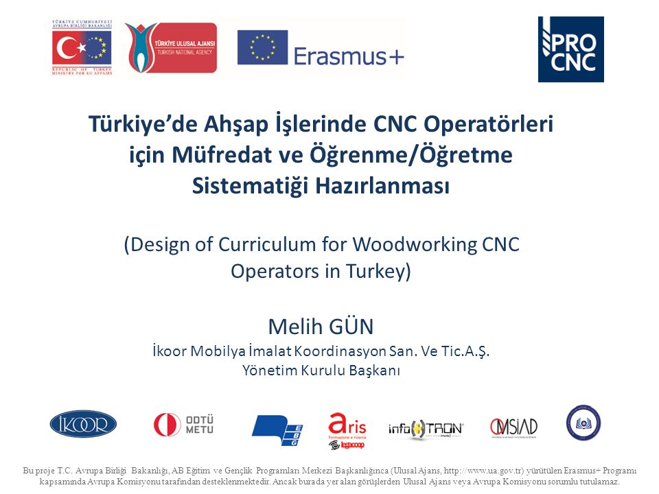 Türkiye'de Ahşap İşlerinde CNC Operatörleri için Müfredat ve Öğrenme/Öğretme Sistematiği Hazırlanması (Design of Curriculum for Woodworking CNC Operators in Turkey) Melih GÜN İkoor Mobilya İmalat Koordinasyon San.