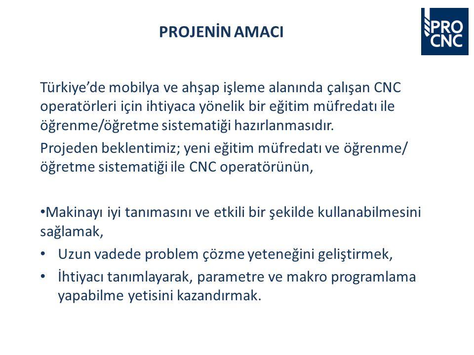 Türkiye'de mobilya ve ahşap işleme alanında çalışan CNC operatörleri için ihtiyaca yönelik bir eğitim müfredatı ile öğrenme/öğretme sistematiği hazırlanmasıdır.
