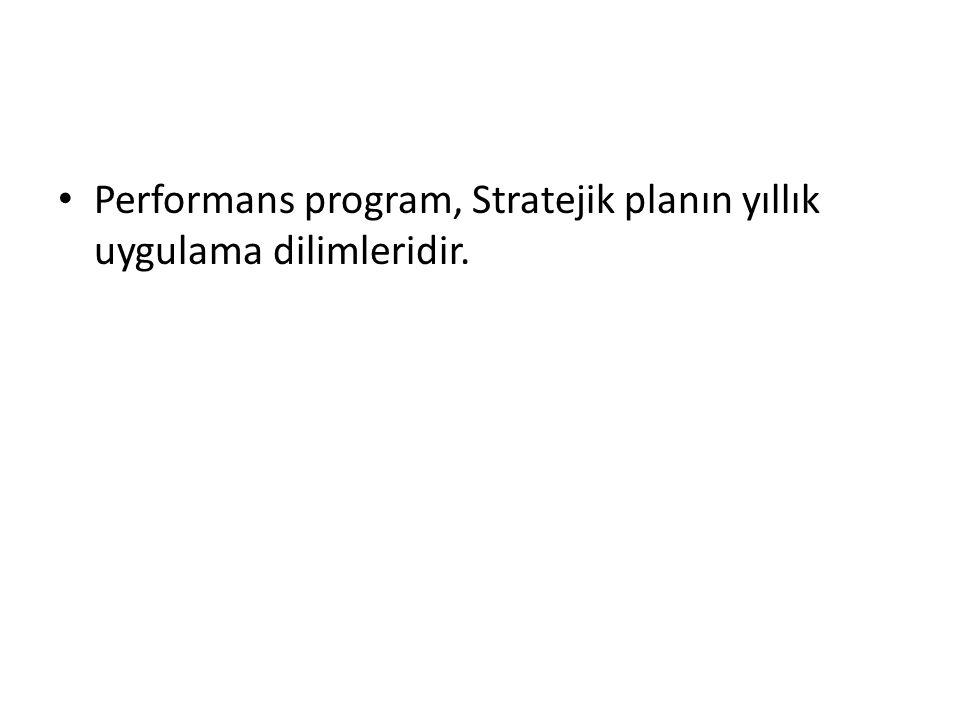 Performans program, Stratejik planın yıllık uygulama dilimleridir.