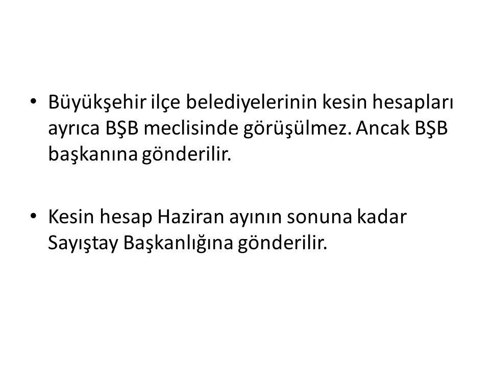 Büyükşehir ilçe belediyelerinin kesin hesapları ayrıca BŞB meclisinde görüşülmez.
