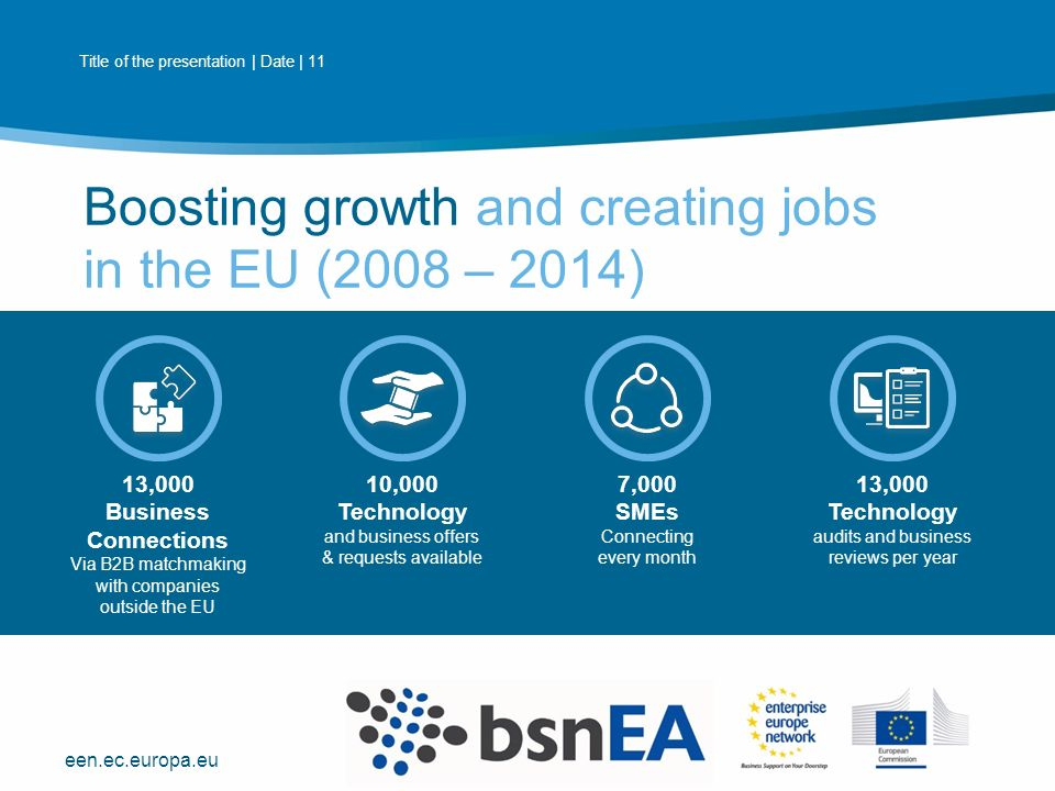 een.ec.europa.eu 13,000 Business Connections Via B2B matchmaking with companies outside the EU 10,000 Technology and business offers & requests available 7,000 SMEs Connecting every month 13,000 Technology audits and business reviews per year Boosting growth and creating jobs in the EU (2008 – 2014) Title of the presentation | Date | 11 PLACE PARTNER'S LOGO HERE