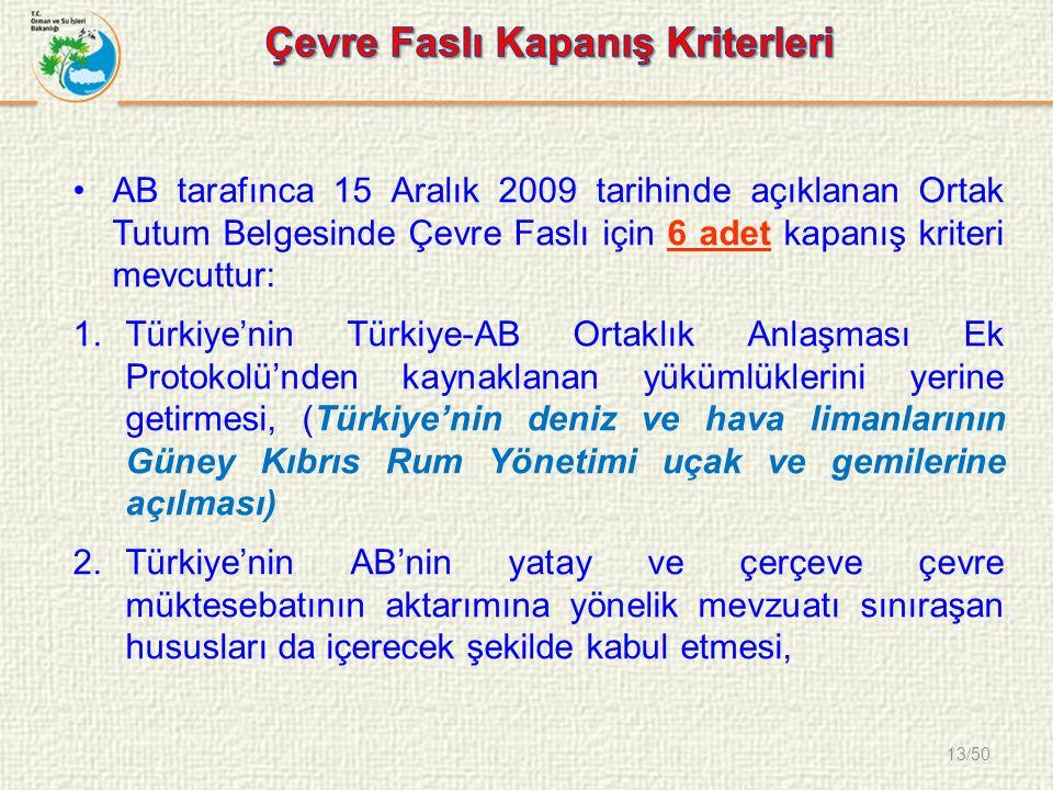13/50 AB tarafınca 15 Aralık 2009 tarihinde açıklanan Ortak Tutum Belgesinde Çevre Faslı için 6 adet kapanış kriteri mevcuttur: 1.Türkiye'nin Türkiye-AB Ortaklık Anlaşması Ek Protokolü'nden kaynaklanan yükümlüklerini yerine getirmesi, (Türkiye'nin deniz ve hava limanlarının Güney Kıbrıs Rum Yönetimi uçak ve gemilerine açılması) 2.Türkiye'nin AB'nin yatay ve çerçeve çevre müktesebatının aktarımına yönelik mevzuatı sınıraşan hususları da içerecek şekilde kabul etmesi,