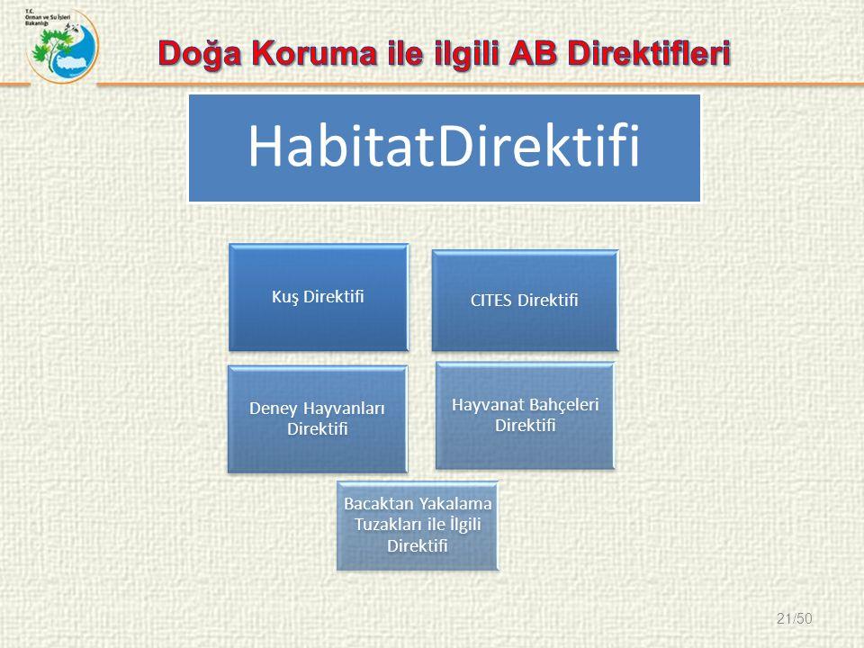 21/50 Kuş Direktifi CITES Direktifi Deney Hayvanları Direktifi Hayvanat Bahçeleri Direktifi Bacaktan Yakalama Tuzakları ile İlgili Direktifi HabitatDirektifi