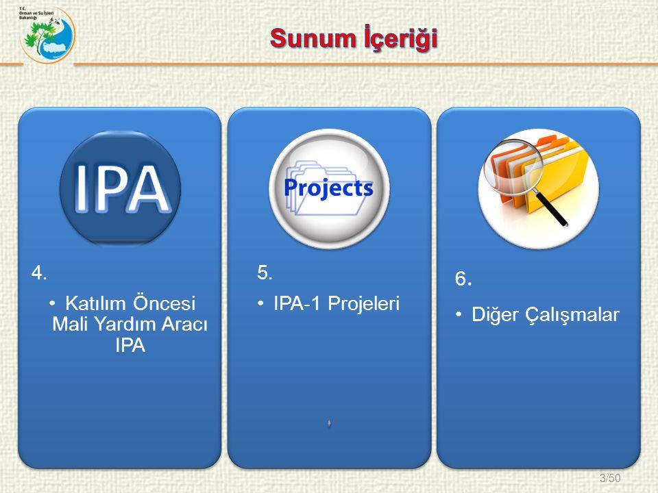 3/50 4. Katılım Öncesi Mali Yardım Aracı IPA 5. IPA-1 Projeleri 6. Diğer Çalışmalar
