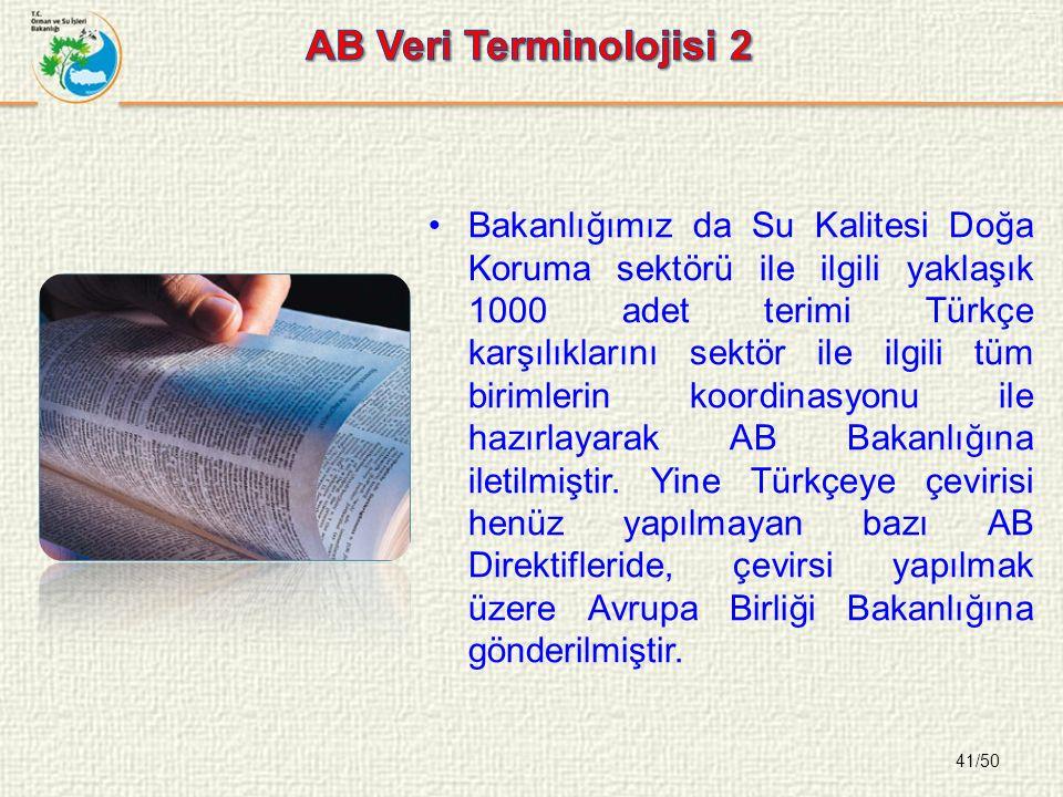 41/50 Bakanlığımız da Su Kalitesi Doğa Koruma sektörü ile ilgili yaklaşık 1000 adet terimi Türkçe karşılıklarını sektör ile ilgili tüm birimlerin koordinasyonu ile hazırlayarak AB Bakanlığına iletilmiştir.
