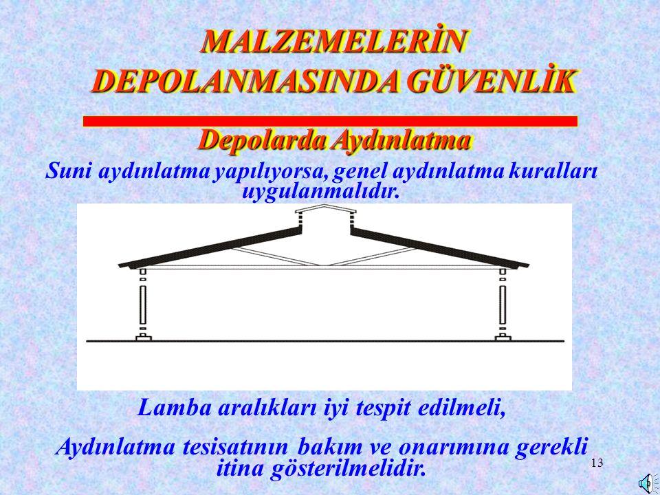 13 MALZEMELERİN DEPOLANMASINDA GÜVENLİK Suni aydınlatma yapılıyorsa, genel aydınlatma kuralları uygulanmalıdır.