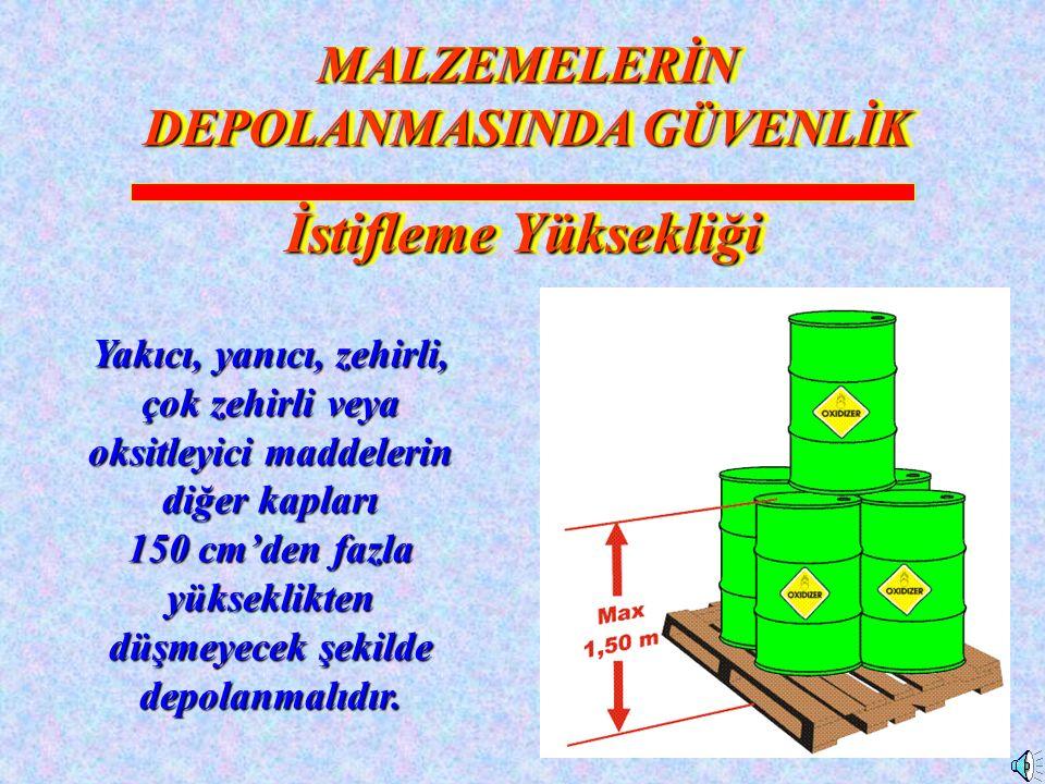 18 Yakıcı, yanıcı, zehirli, çok zehirli veya oksitleyici maddelerin diğer kapları 150 cm'den fazla yükseklikten düşmeyecek şekilde depolanmalıdır.