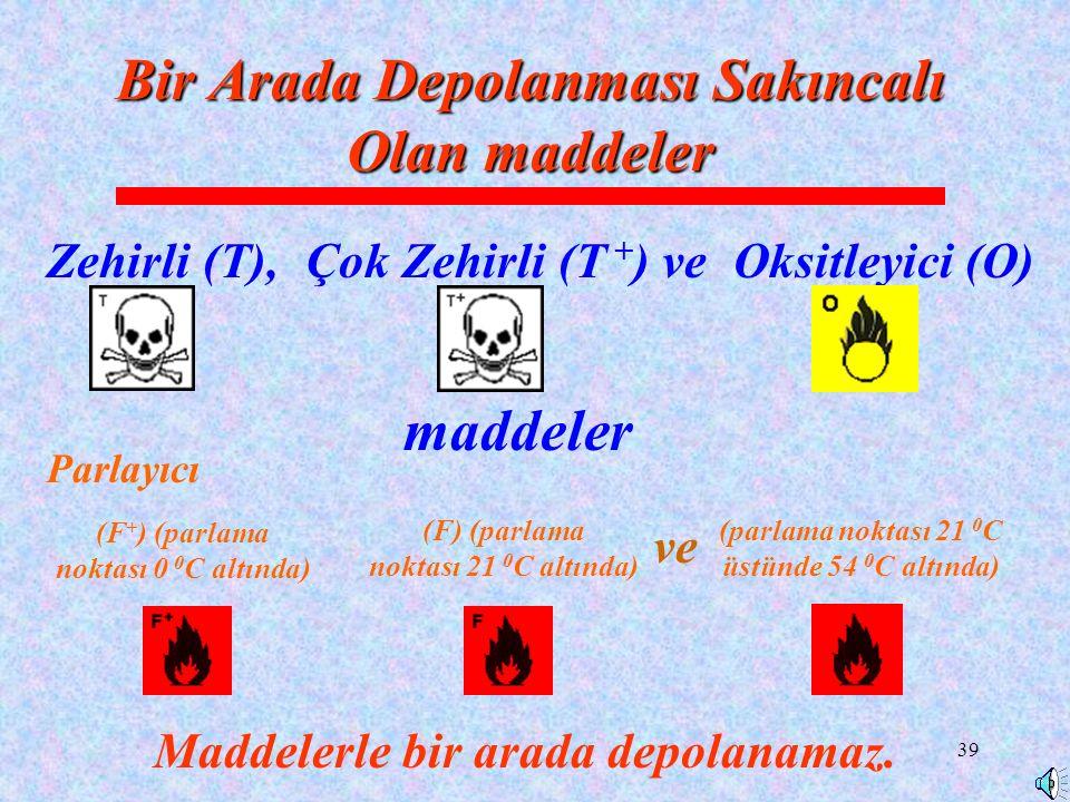 39 Zehirli (T), Bir Arada Depolanması Sakıncalı Olan maddeler Çok Zehirli (T + )ve maddeler Oksitleyici (O) Maddelerle bir arada depolanamaz.