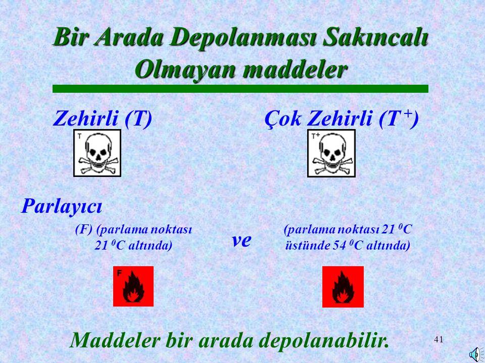 41 Zehirli (T) Bir Arada Depolanması Sakıncalı Olmayan maddeler Çok Zehirli (T + ) Maddeler bir arada depolanabilir.