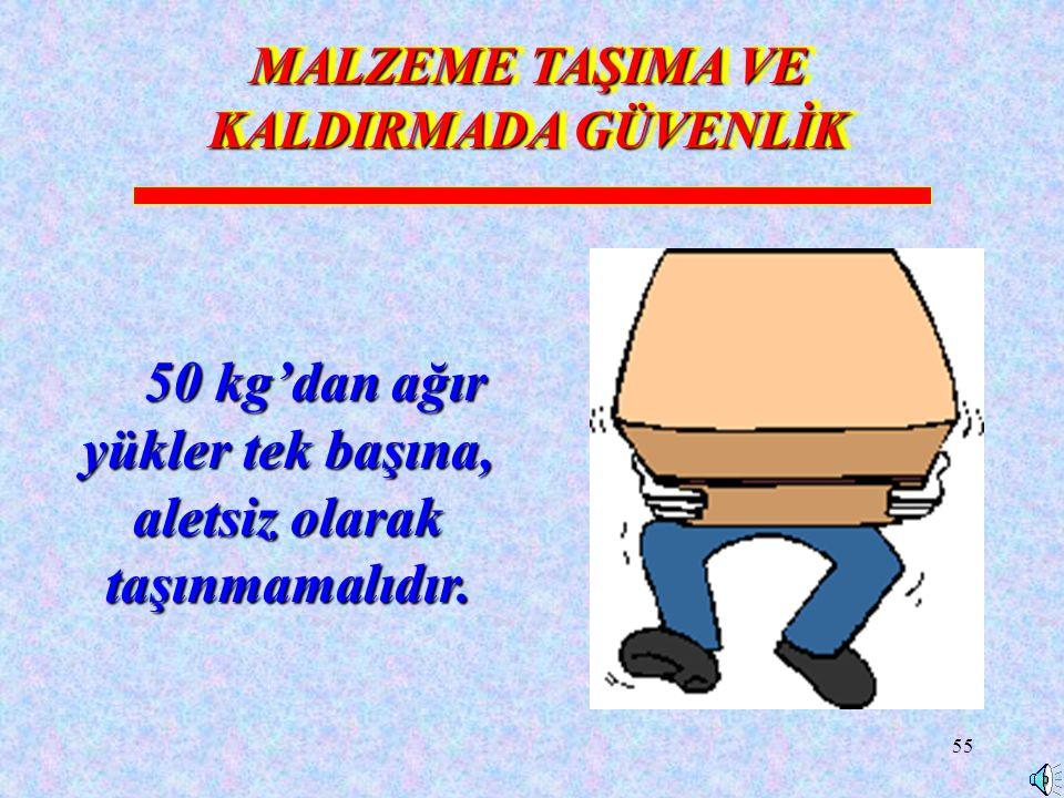55 MALZEME TAŞIMA VE KALDIRMADA GÜVENLİK 50 kg'dan ağır yükler tek başına, aletsiz olarak taşınmamalıdır.