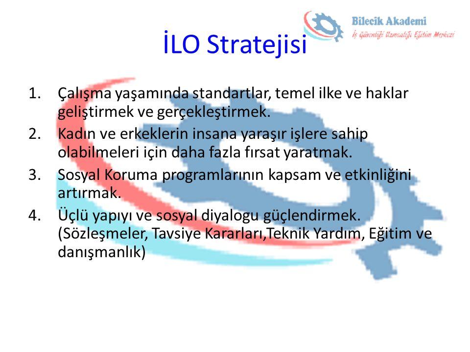İLO Stratejisi 1.Çalışma yaşamında standartlar, temel ilke ve haklar geliştirmek ve gerçekleştirmek. 2.Kadın ve erkeklerin insana yaraşır işlere sahip