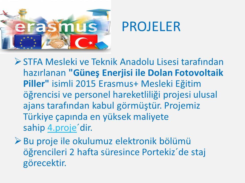 PROJELER  STFA Mesleki ve Teknik Anadolu Lisesi tarafından hazırlanan Güneş Enerjisi ile Dolan Fotovoltaik Piller isimli 2015 Erasmus+ Mesleki Eğitim öğrencisi ve personel hareketliliği projesi ulusal ajans tarafından kabul görmüştür.