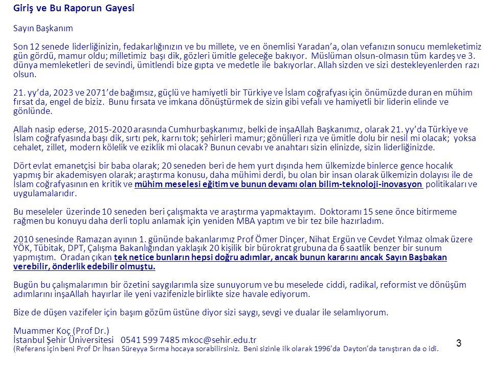 24 Yeni Türkiye için Eğitim-Bilim-Teknoloji-İnovasyon Reformu (EBTİ) (2015 - 2025) Prof.