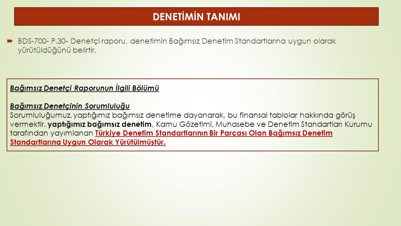  BDS-700- P.30- Denetçi raporu, denetimin Bağımsız Denetim Standartlarına uygun olarak yürütüldüğünü belirtir.