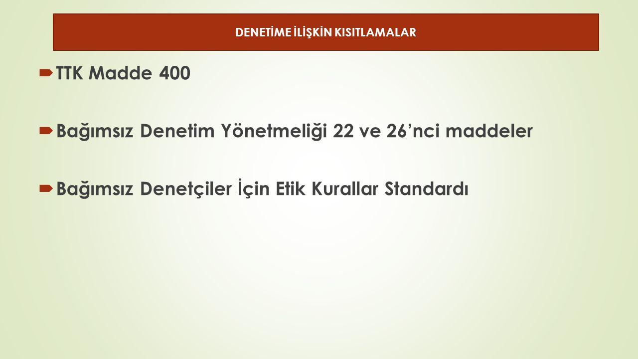  TTK Madde 400  Bağımsız Denetim Yönetmeliği 22 ve 26'nci maddeler  Bağımsız Denetçiler İçin Etik Kurallar Standardı DENETİME İLİŞKİN KISITLAMALAR