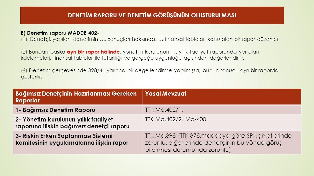 E) Denetim raporu MADDE 402 - (1)Denetçi, yapılan denetimin ….