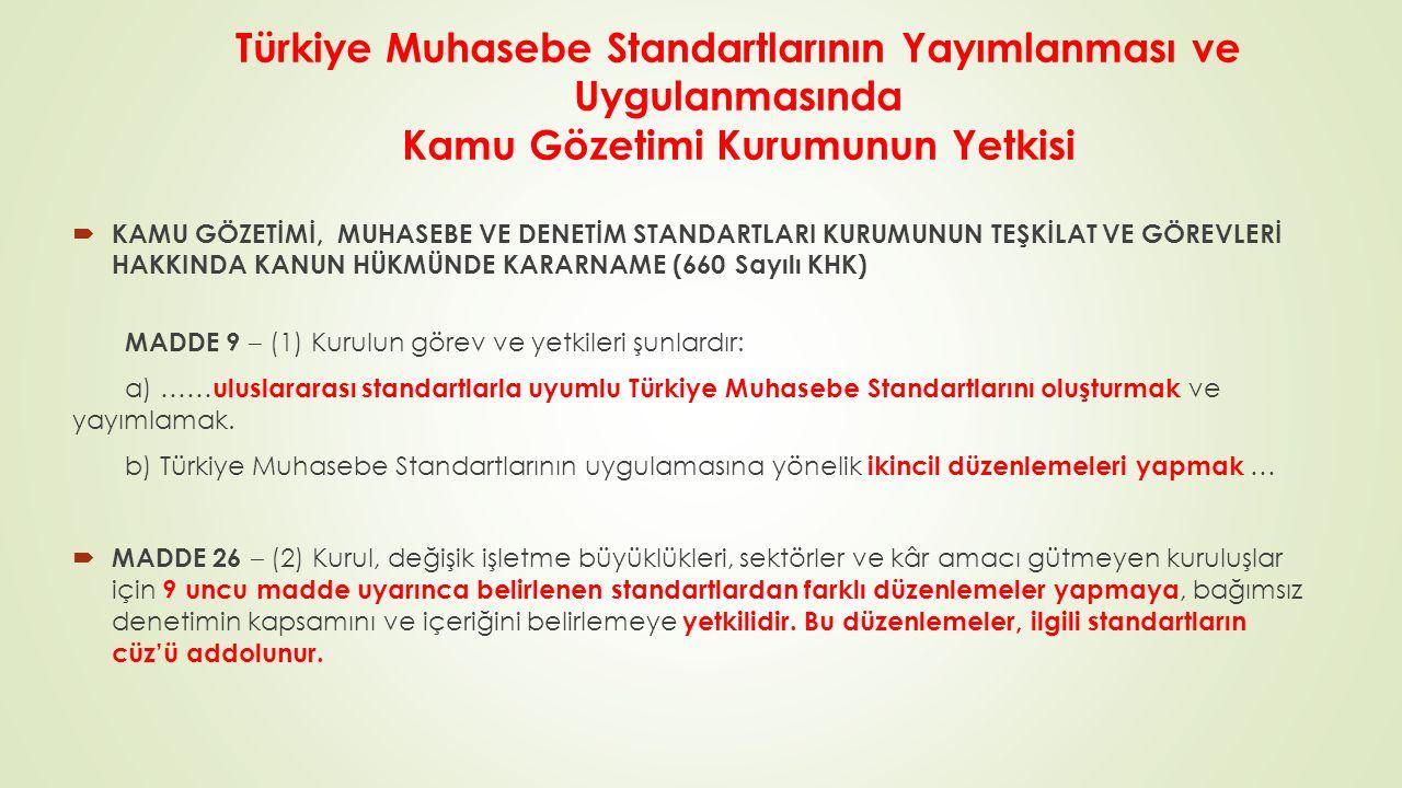Türkiye Muhasebe Standartlarının Yayımlanması ve Uygulanmasında Kamu Gözetimi Kurumunun Yetkisi  KAMU GÖZETİMİ, MUHASEBE VE DENETİM STANDARTLARI KURUMUNUN TEŞKİLAT VE GÖREVLERİ HAKKINDA KANUN HÜKMÜNDE KARARNAME (660 Sayılı KHK) MADDE 9 ‒ (1) Kurulun görev ve yetkileri şunlardır: a) …… uluslararası standartlarla uyumlu Türkiye Muhasebe Standartlarını oluşturmak ve yayımlamak.