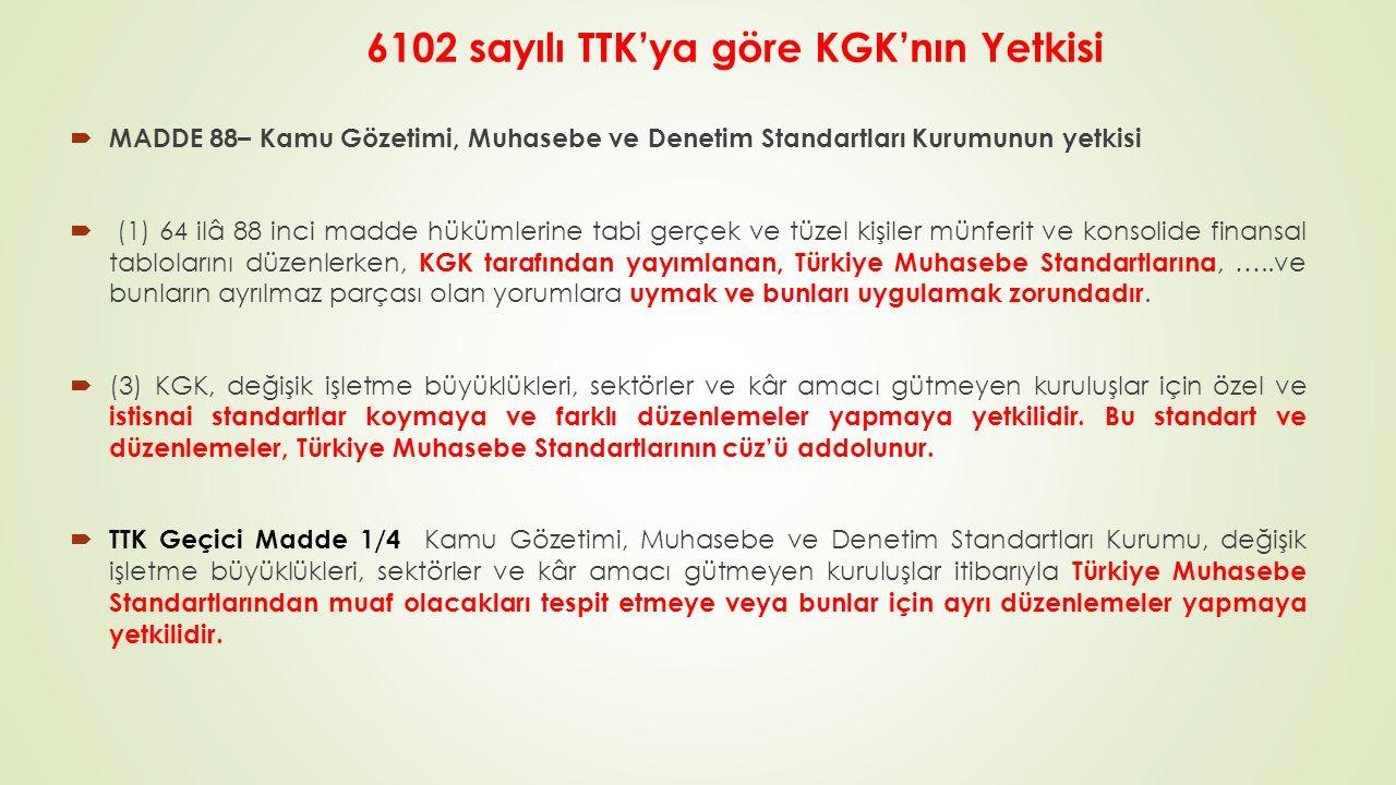6102 sayılı TTK'ya göre KGK'nın Yetkisi  MADDE 88– Kamu Gözetimi, Muhasebe ve Denetim Standartları Kurumunun yetkisi  (1) 64 ilâ 88 inci madde hükümlerine tabi gerçek ve tüzel kişiler münferit ve konsolide finansal tablolarını düzenlerken, KGK tarafından yayımlanan, Türkiye Muhasebe Standartlarına, …..ve bunların ayrılmaz parçası olan yorumlara uymak ve bunları uygulamak zorundadır.