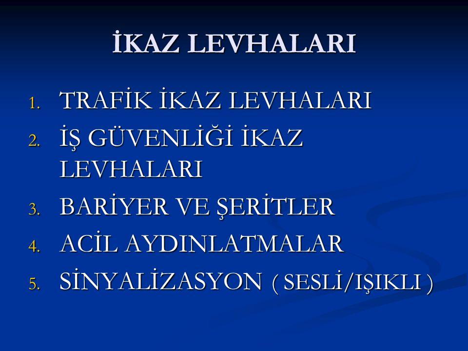 İKAZ LEVHALARI 1. TRAFİK İKAZ LEVHALARI 2. İŞ GÜVENLİĞİ İKAZ LEVHALARI 3. BARİYER VE ŞERİTLER 4. ACİL AYDINLATMALAR 5. SİNYALİZASYON ( SESLİ/IŞIKLI )