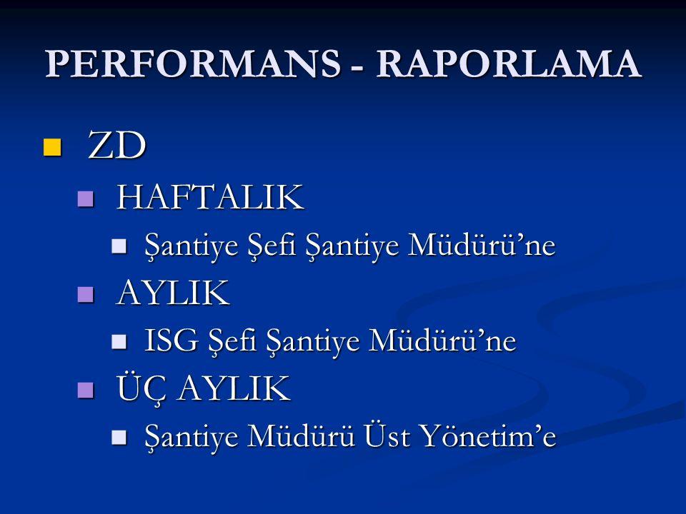 PERFORMANS - RAPORLAMA ZD ZD HAFTALIK HAFTALIK Şantiye Şefi Şantiye Müdürü'ne Şantiye Şefi Şantiye Müdürü'ne AYLIK AYLIK ISG Şefi Şantiye Müdürü'ne IS