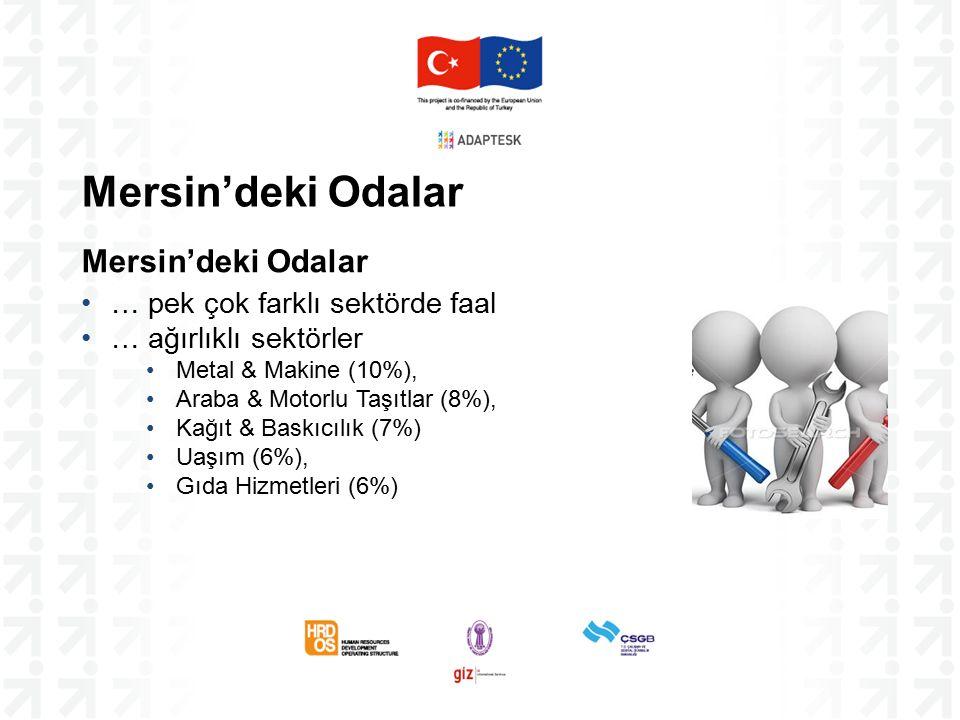 Mersin'deki Odalar … pek çok farklı sektörde faal … ağırlıklı sektörler Metal & Makine (10%), Araba & Motorlu Taşıtlar (8%), Kağıt & Baskıcılık (7%) Uaşım (6%), Gıda Hizmetleri (6%)