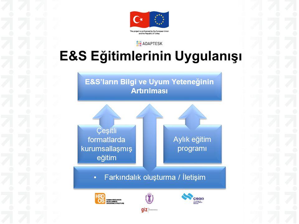 E&S Eğitimlerinin Uygulanışı E&S'ların Bilgi ve Uyum Yeteneğinin Artırılması Farkındalık oluşturma / İletişim Çeşitli formatlarda kurumsallaşmış eğitim Aylık eğitim programı