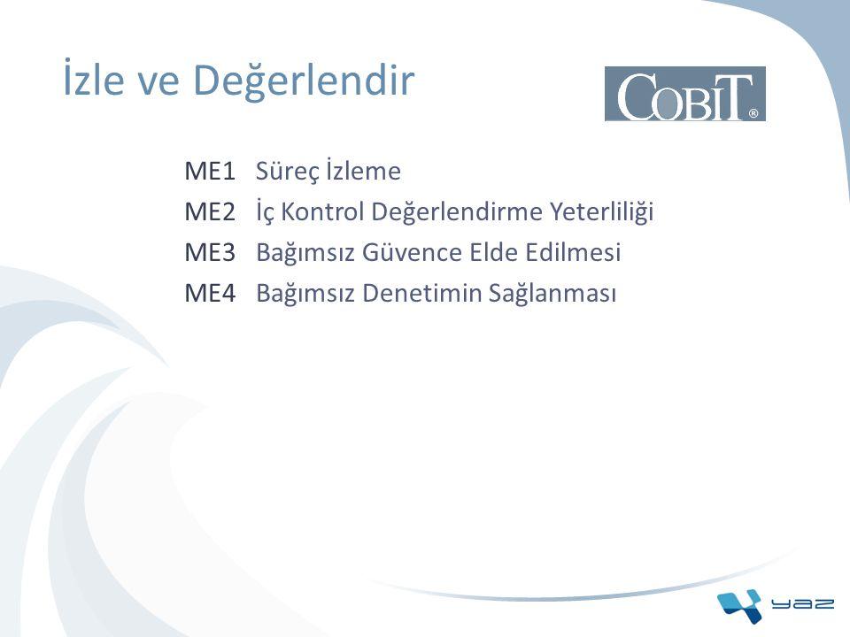 İzle ve Değerlendir ME1 Süreç İzleme ME2 İç Kontrol Değerlendirme Yeterliliği ME3 Bağımsız Güvence Elde Edilmesi ME4 Bağımsız Denetimin Sağlanması