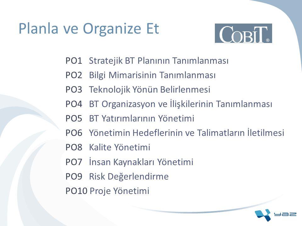 Planla ve Organize Et PO1 Stratejik BT Planının Tanımlanması PO2 Bilgi Mimarisinin Tanımlanması PO3 Teknolojik Yönün Belirlenmesi PO4 BT Organizasyon