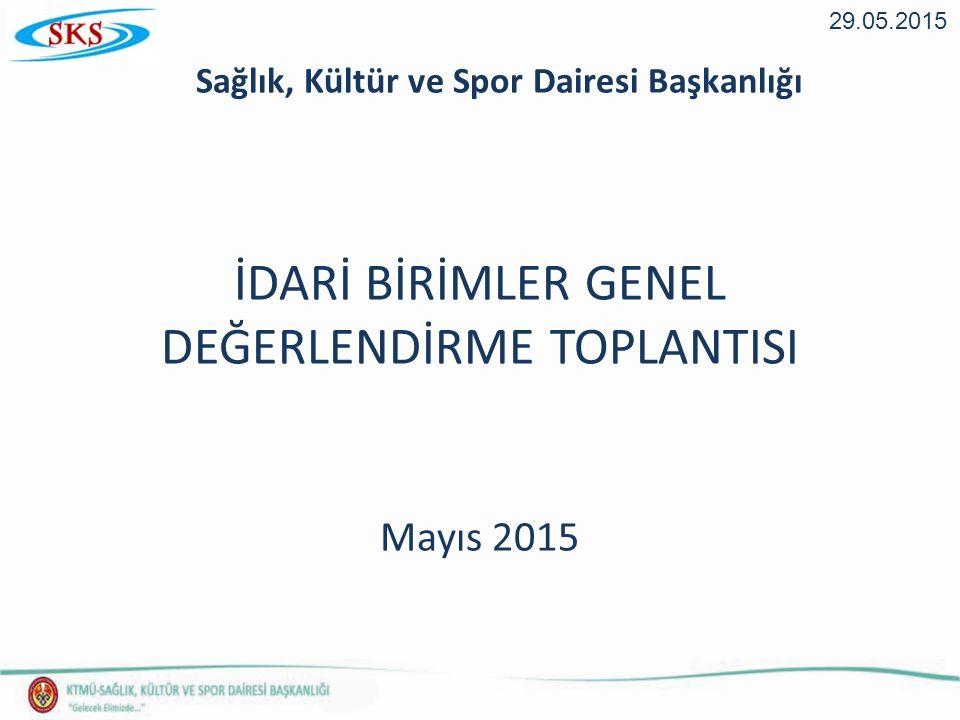 İDARİ BİRİMLER GENEL DEĞERLENDİRME TOPLANTISI Mayıs 2015 29.05.2015 Sağlık, Kültür ve Spor Dairesi Başkanlığı