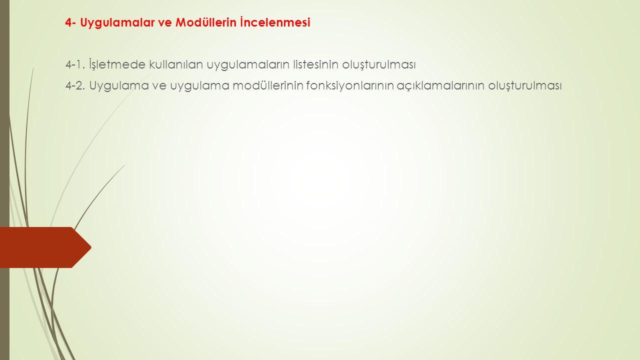 4- Uygulamalar ve Modüllerin İncelenmesi 4-1. İşletmede kullanılan uygulamaların listesinin oluşturulması 4-2. Uygulama ve uygulama modüllerinin fonks