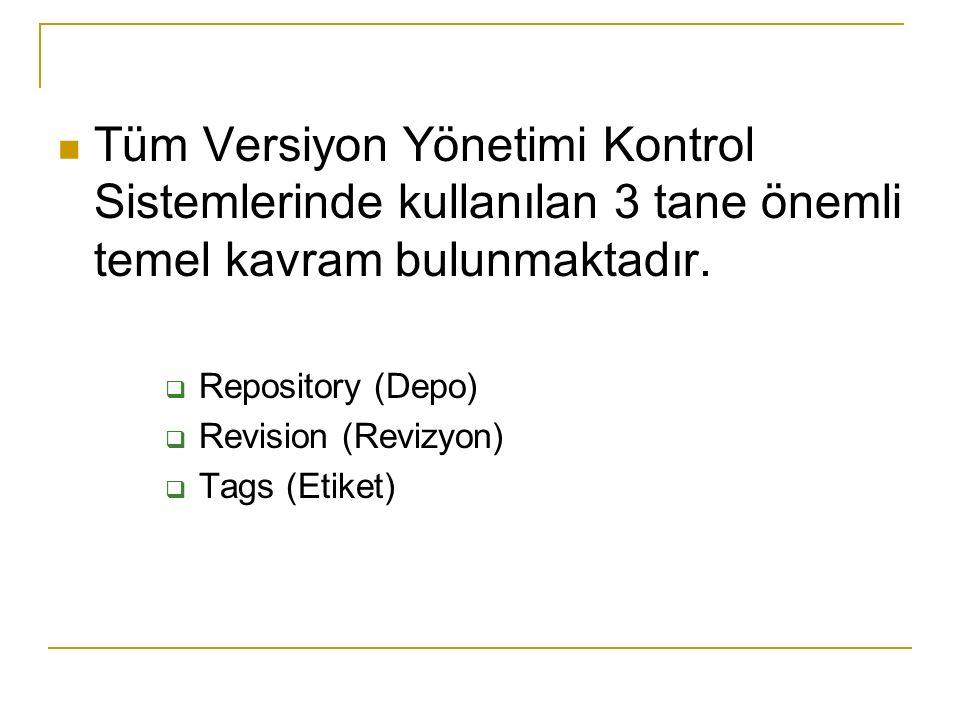 Tüm Versiyon Yönetimi Kontrol Sistemlerinde kullanılan 3 tane önemli temel kavram bulunmaktadır.  Repository (Depo)  Revision (Revizyon)  Tags (Eti