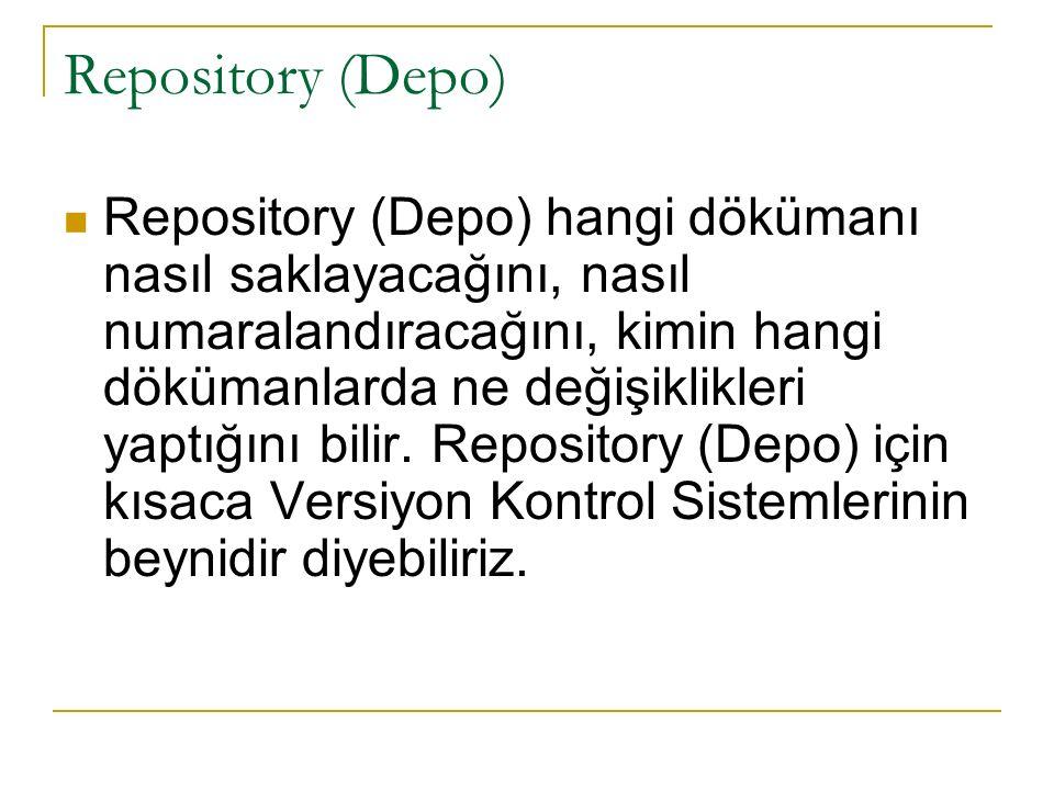 Repository (Depo) Repository (Depo) hangi dökümanı nasıl saklayacağını, nasıl numaralandıracağını, kimin hangi dökümanlarda ne değişiklikleri yaptığını bilir.