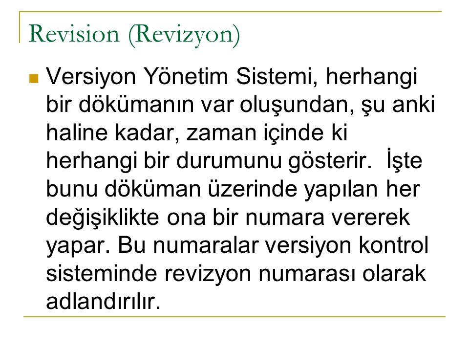 Revision (Revizyon) Versiyon Yönetim Sistemi, herhangi bir dökümanın var oluşundan, şu anki haline kadar, zaman içinde ki herhangi bir durumunu göster