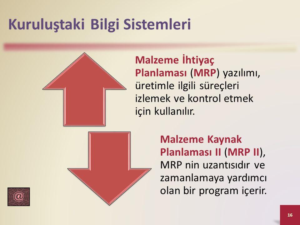Kuruluştaki Bilgi Sistemleri Malzeme İhtiyaç Planlaması (MRP) yazılımı, üretimle ilgili süreçleri izlemek ve kontrol etmek için kullanılır.