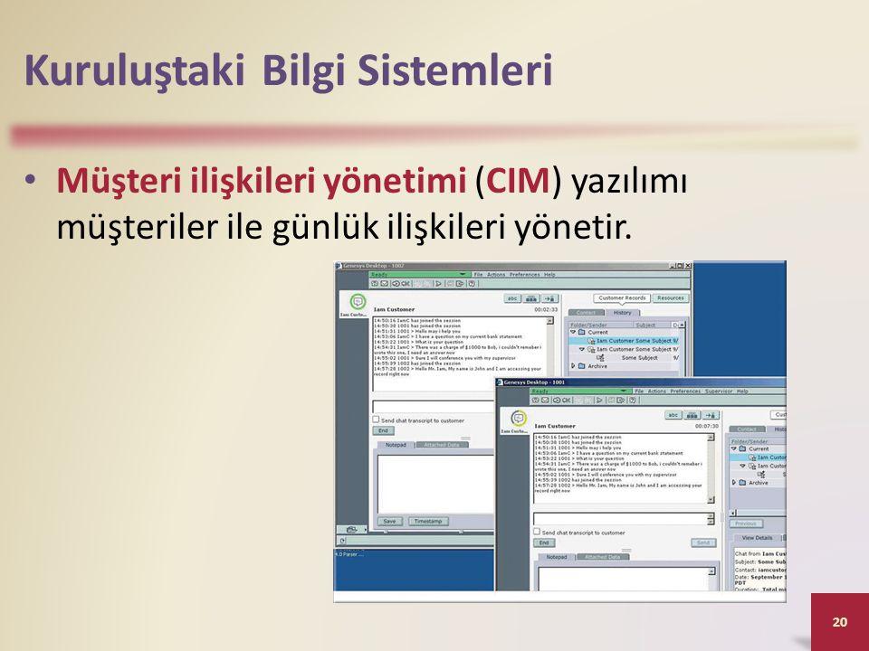 Kuruluştaki Bilgi Sistemleri Müşteri ilişkileri yönetimi (CIM) yazılımı müşteriler ile günlük ilişkileri yönetir.
