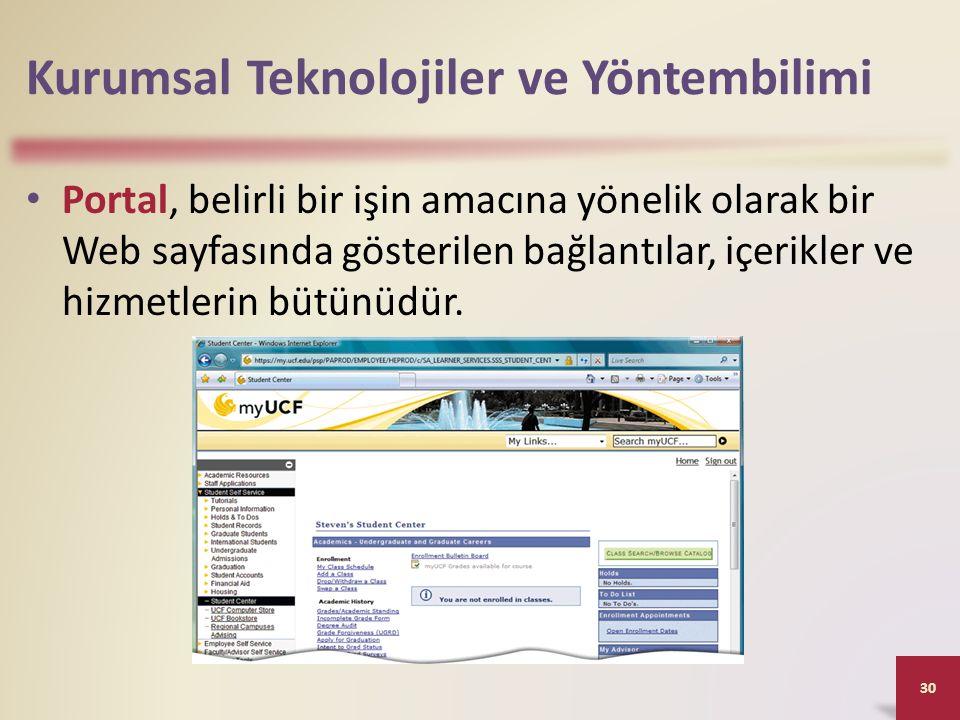 Kurumsal Teknolojiler ve Yöntembilimi Portal, belirli bir işin amacına yönelik olarak bir Web sayfasında gösterilen bağlantılar, içerikler ve hizmetlerin bütünüdür.