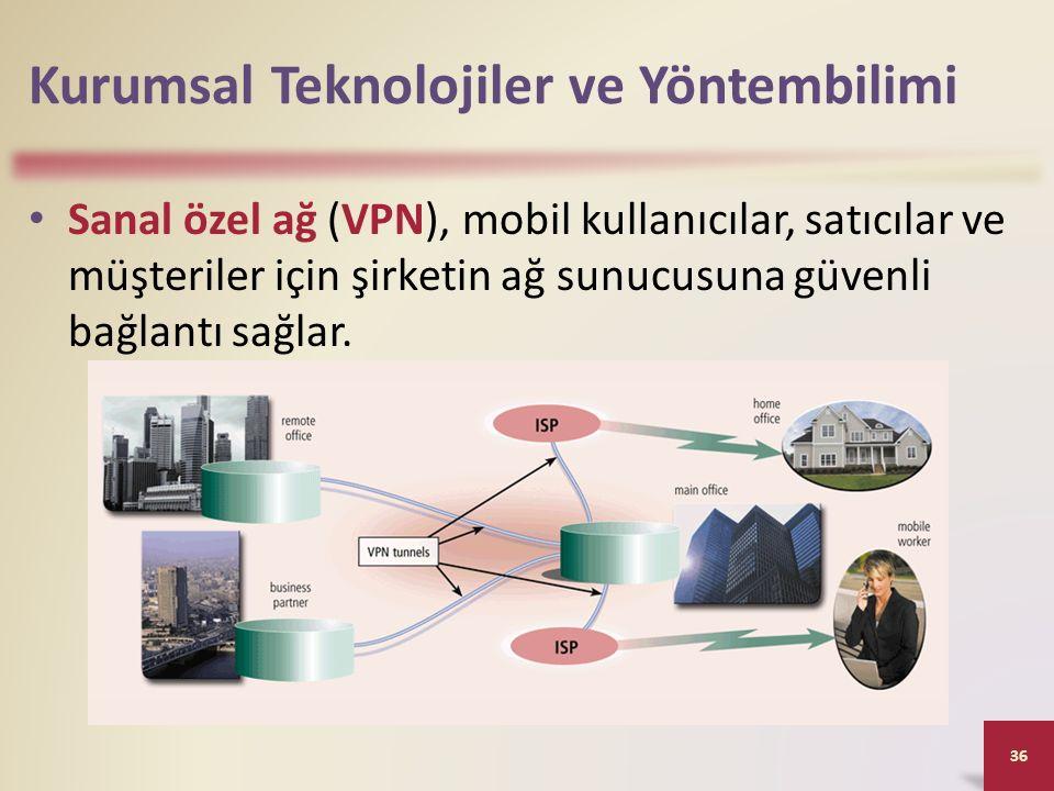 Kurumsal Teknolojiler ve Yöntembilimi Sanal özel ağ (VPN), mobil kullanıcılar, satıcılar ve müşteriler için şirketin ağ sunucusuna güvenli bağlantı sağlar.