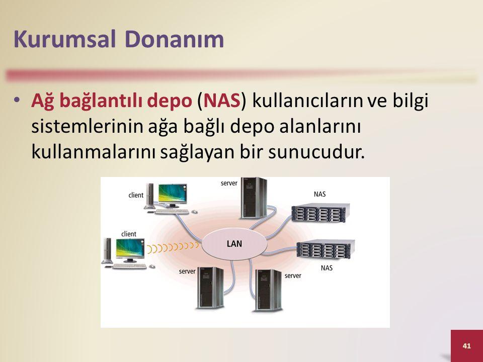 Kurumsal Donanım Ağ bağlantılı depo (NAS) kullanıcıların ve bilgi sistemlerinin ağa bağlı depo alanlarını kullanmalarını sağlayan bir sunucudur.