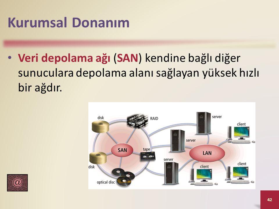 Kurumsal Donanım Veri depolama ağı (SAN) kendine bağlı diğer sunuculara depolama alanı sağlayan yüksek hızlı bir ağdır.