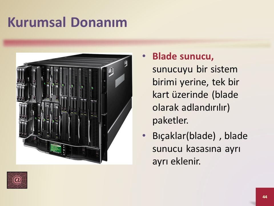 Kurumsal Donanım Blade sunucu, sunucuyu bir sistem birimi yerine, tek bir kart üzerinde (blade olarak adlandırılır) paketler.