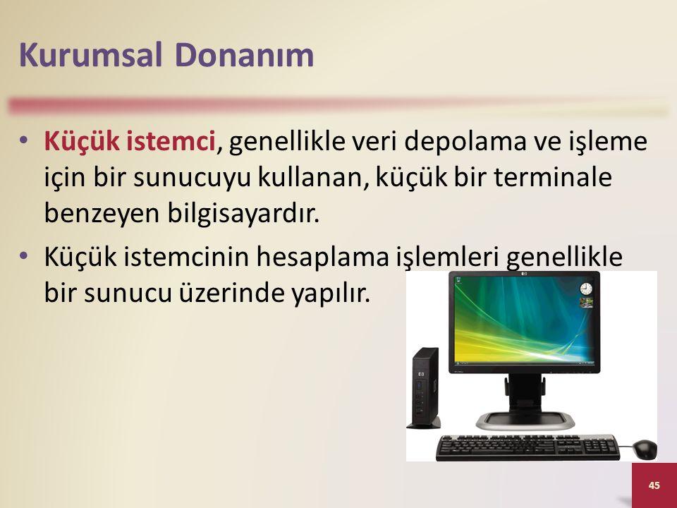 Kurumsal Donanım Küçük istemci, genellikle veri depolama ve işleme için bir sunucuyu kullanan, küçük bir terminale benzeyen bilgisayardır.