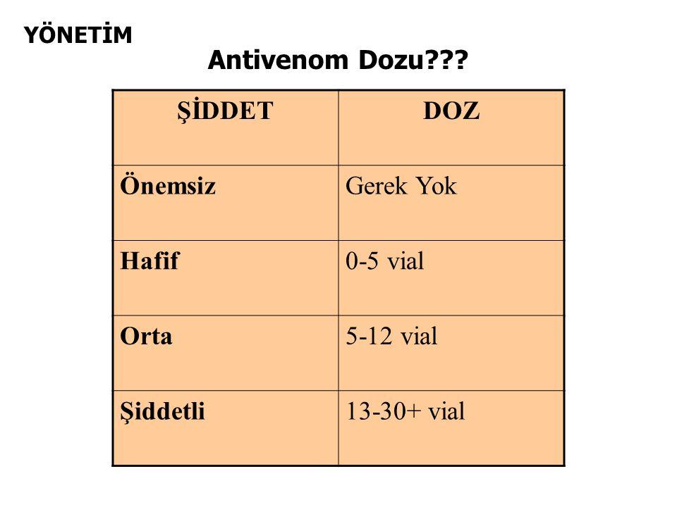 YÖNETİM Antivenom Dozu .
