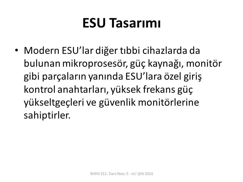 ESU Tasarımı Modern ESU'lar diğer tıbbi cihazlarda da bulunan mikroprosesör, güç kaynağı, monitör gibi parçaların yanında ESU'lara özel giriş kontrol anahtarları, yüksek frekans güç yükseltgeçleri ve güvenlik monitörlerine sahiptirler.