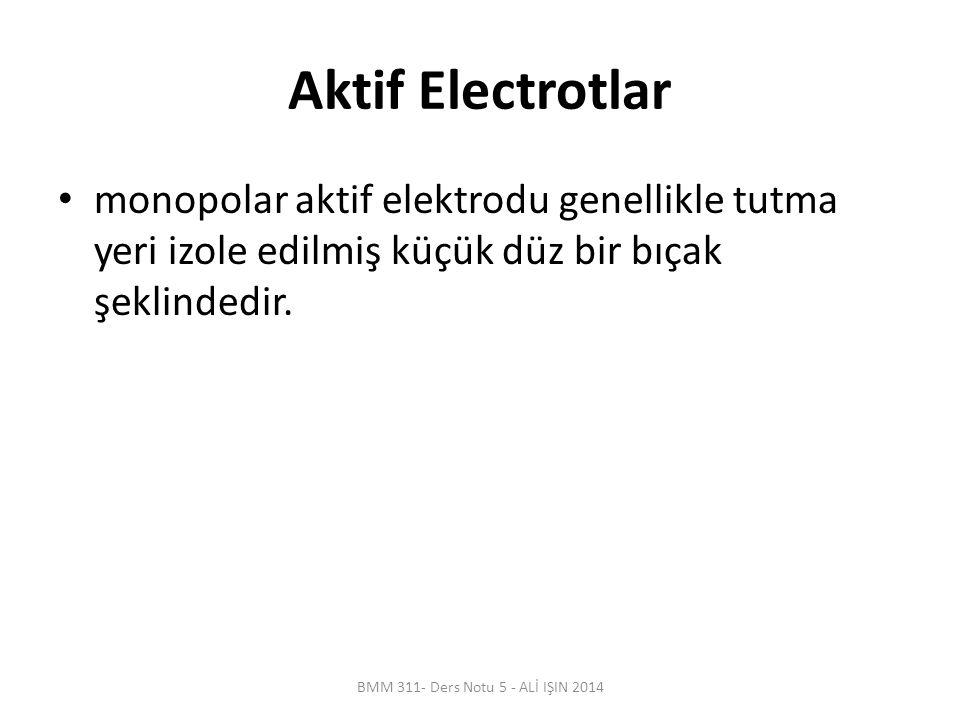 Aktif Electrotlar monopolar aktif elektrodu genellikle tutma yeri izole edilmiş küçük düz bir bıçak şeklindedir.