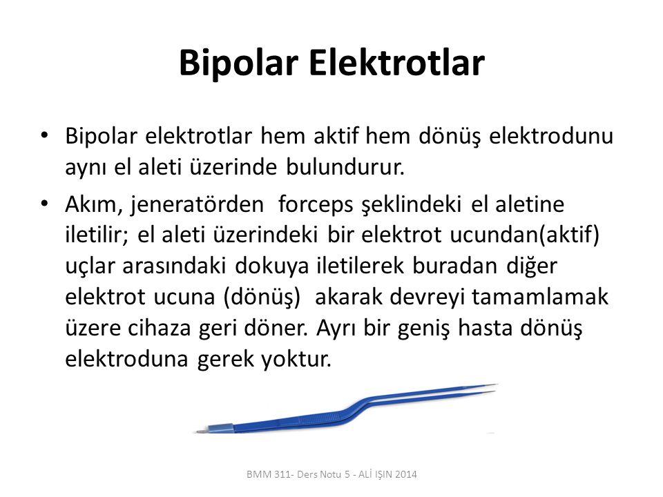 Bipolar Elektrotlar Bipolar elektrotlar hem aktif hem dönüş elektrodunu aynı el aleti üzerinde bulundurur. Akım, jeneratörden forceps şeklindeki el al
