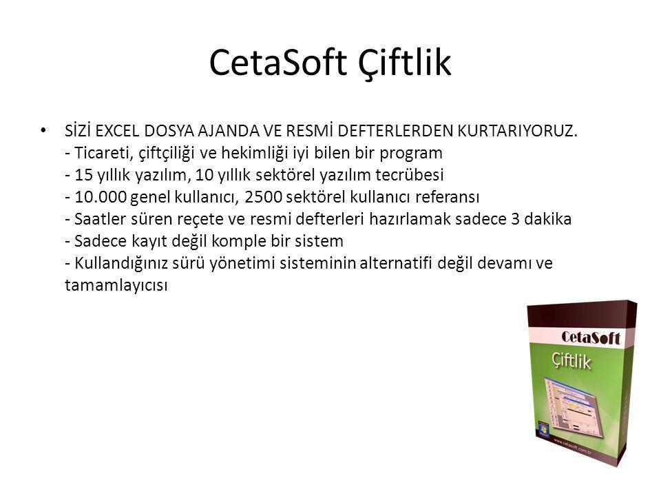 CetaSoft Çiftlik SİZİ EXCEL DOSYA AJANDA VE RESMİ DEFTERLERDEN KURTARIYORUZ.